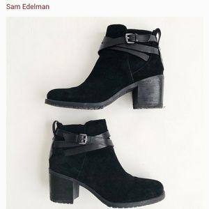 Sam Edelman Hanna Moto black suede ankle booties